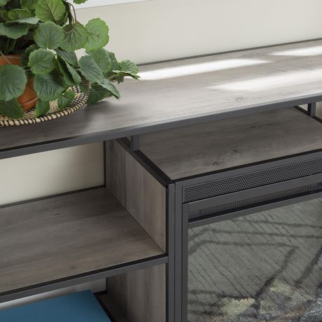 """Manor Park Modern Industrial Fireplace TV Stand for TV's up to 66""""- Grey Wash - image 3 of 9"""