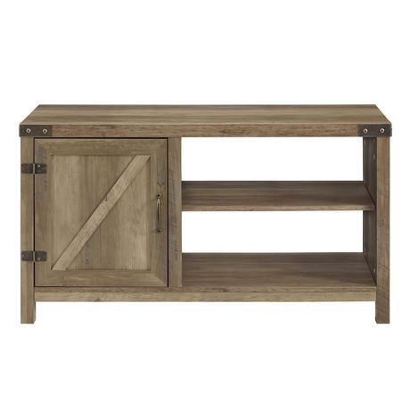 manor park 44 rustic farmhouse barn door tv stand storage console with shelving grey wash. Black Bedroom Furniture Sets. Home Design Ideas