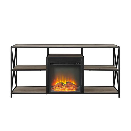 """Manor Park Modern Industrial Fireplace TV Stand for TV's up to 66""""- Grey Wash - image 5 of 9"""