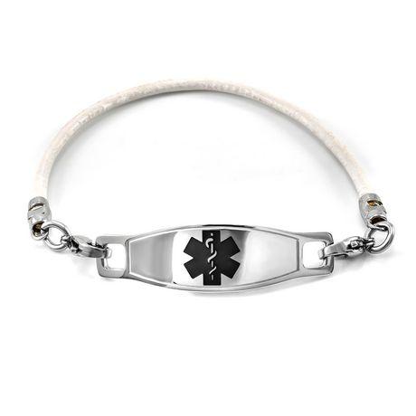 MedicEngraved - Bracelets en cuir contiennent l'identité médicale en acier inoxydé de couleur rouge et pour les femmes - image 2 de 2