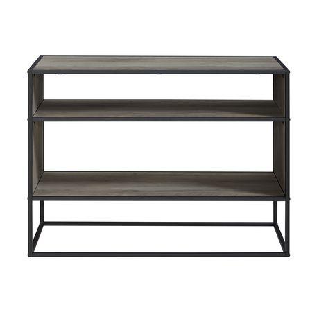 Console m dia support tv table biblioth que rayons ouverts en m tal et bois rustique urbain for Support tv bois