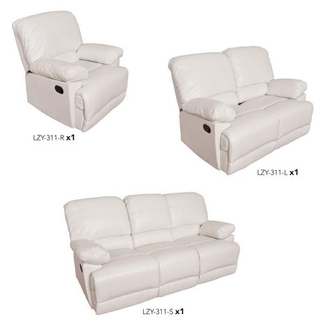 CorLiving Lea Reclining Bonded Leather 3 Piece Sofa Set - image 9 of 9