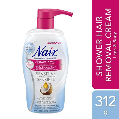 Nair Shower Power Sensitive Formula Hair Remover for Legs & Body with 100% Natural Coconut Oil plus Vitamin E - image 1 of 5