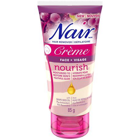 Nair Crème Dépilatoire Nourish à L Huile De Pépins De Raisin Pour Le Visage Enrichie D Un Antioxydant Le Resvératrol Walmart Canada