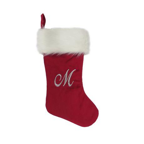 Red Velvet Christmas Stockings.Holiday Time Velvet Monogram Stocking M Walmart Canada