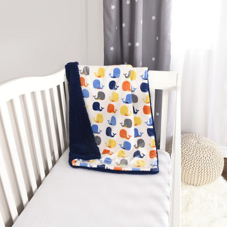 Baby S First By Nemcor Ultimate Sherpa Baby Blanket Whale
