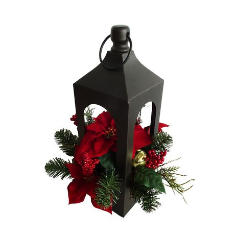 Lanterne à mélange de poinsettia Holiday time en rouge - image 1 de 1