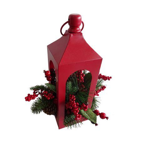 Lanterne à mélange de houx et baies Holiday time en rouge - image 1 de 1