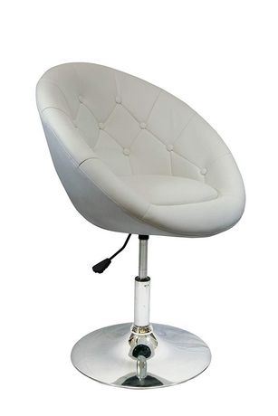 Nicer Furniture Rounded Faux Leather PU Height Adjustable Leisure Swivel Bar Stool in White - image 1 of 3