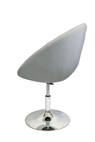 Nicer Furniture Rounded Faux Leather PU Height Adjustable Leisure Swivel Bar Stool in White - image 3 of 3