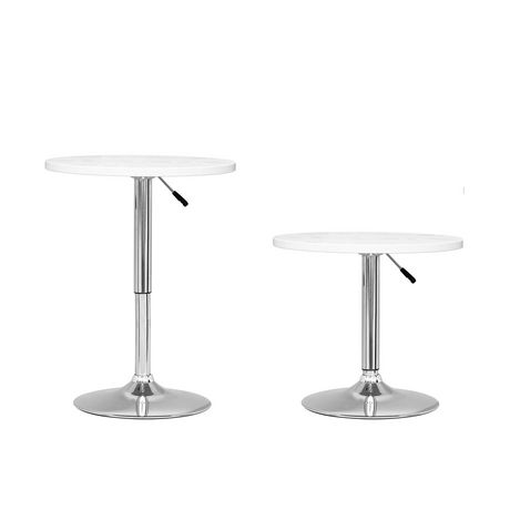 CorLiving DAW 510 T Adjustable Height Round Bar Table In White Wood Finish