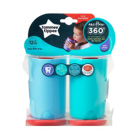 TommeeTippeeEasiflow360° Spill-Proof Cup with Travel Lid, Aqua&Teal –8oz, 12m+, 2pk - image 9 of 9