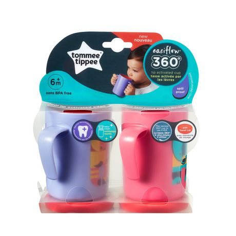 Tommee Tippee Easiflow 360° Spill-Proof Trainer Cup with Travel Lid, Elephant & Bear – 7oz, 6m+, 2pk - image 9 of 9