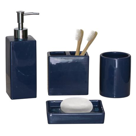 hometrends 4-piece Bath Accessories Set - Solid Blue ...