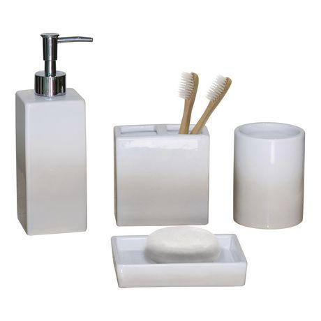 hometrends 4-piece Bath Accessories Set - Cream Ombre ...