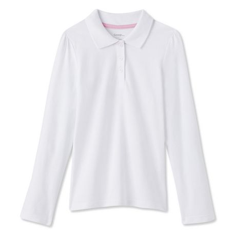 George Girls' Long-Sleeve Polo Uniform Top - image 1 of 2