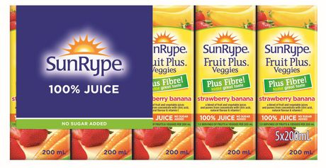 Sun-Rype Products Ltd Sunrype Fruit plus Strawberry Banana + Fibre 5x200ml Juice Boxes - image 1 of 1