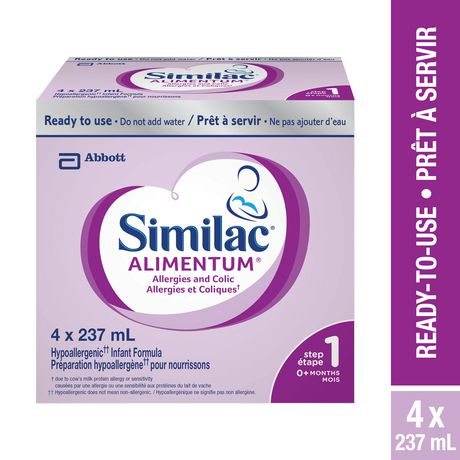 Similac Alimentum Hypoallergenic Ready-To-Use Baby Formula, 4 x 237 mL - image 1 of 9