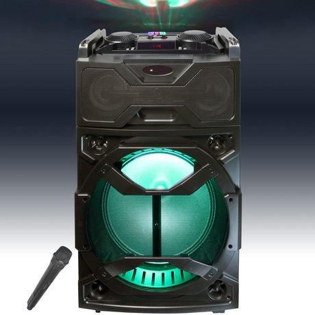 haut parleur amplifi et portatif de 12 po totalisant 2 000 w top tech audio avec lumi re del. Black Bedroom Furniture Sets. Home Design Ideas