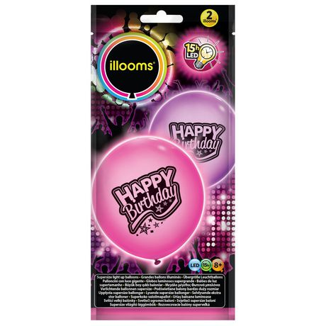 Illooms Pink Purple Happy Birthday Super Size LED Light Up Balloons
