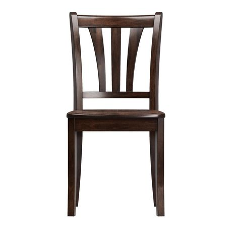 Fabulous Corliving Dillon Curved Vertical Slat Backrest Cappuccino Solid Wood Dining Chairs Set Of 2 Inzonedesignstudio Interior Chair Design Inzonedesignstudiocom