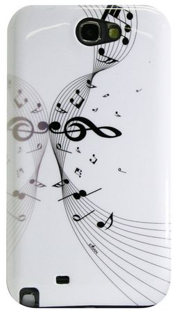 Exian Case for Samsung Galaxy Note 2, Musical Notes - White - image 1 of 2