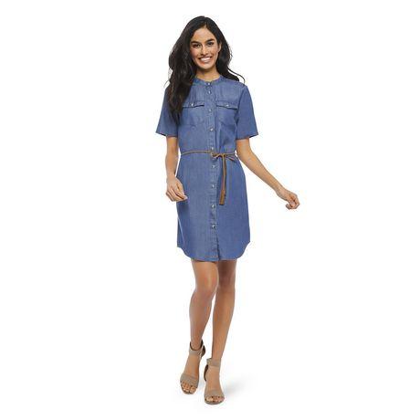 George Women's Short Sleeve Denim Shirtdress - image 1 of 6