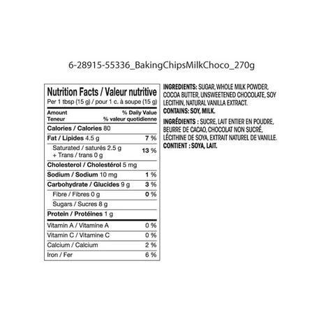 Pépites de chocolat au lait Great Value - image 2 de 2