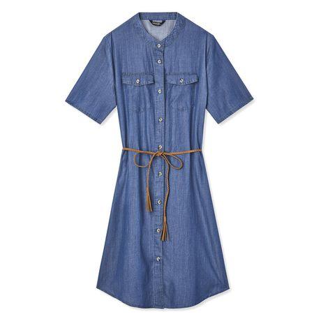 George Women's Short Sleeve Denim Shirtdress - image 6 of 6