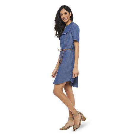 George Women's Short Sleeve Denim Shirtdress - image 2 of 6
