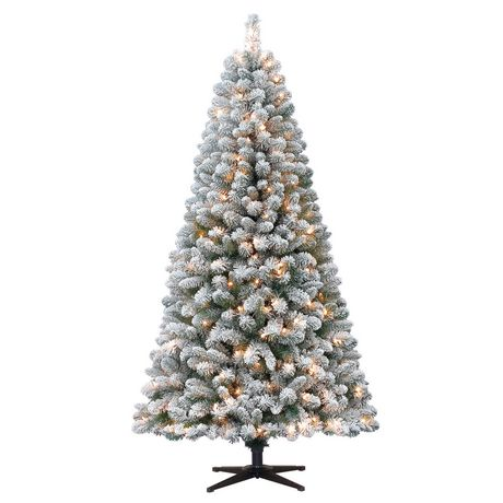 Holiday time 6.5' Crystal Flocked Pine Christmas Tree with ...