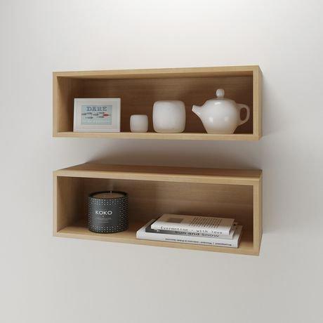 Nexera Trilogy Wall Shelves Natural Maple Set Of 2