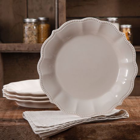 THE PIONEER WOMAM PAIGE, TRANSPARENT GLAZE, 4-PACK LINEN DINNER PLATES