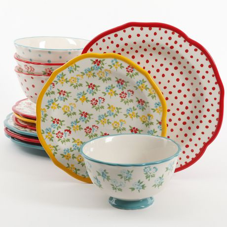 the pioneer woman timeless floral retro dot mix and match 12 piece dinnerware set walmart canada. Black Bedroom Furniture Sets. Home Design Ideas