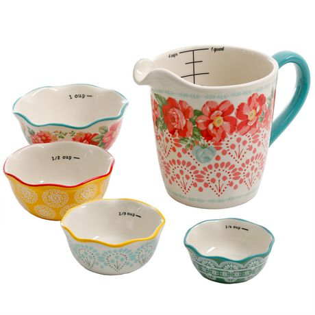 The Pioneer Woman Vintage Floral 4-PIECE Measuring Bowl with 4-CUP Measuring Cup, 5-PIECE Set - image 2 of 8