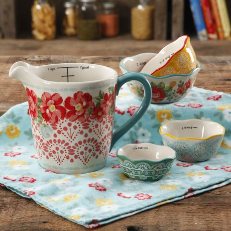 The Pioneer Woman Vintage Floral 4-PIECE Measuring Bowl with 4-CUP Measuring Cup, 5-PIECE Set - image 1 of 8