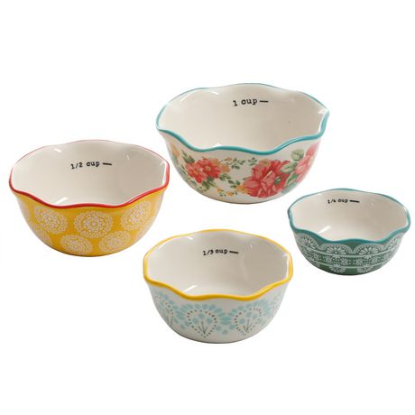The Pioneer Woman Vintage Floral 4-PIECE Measuring Bowl with 4-CUP Measuring Cup, 5-PIECE Set - image 4 of 8
