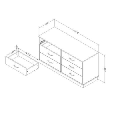 Logik 6 Drawer Double Dresser