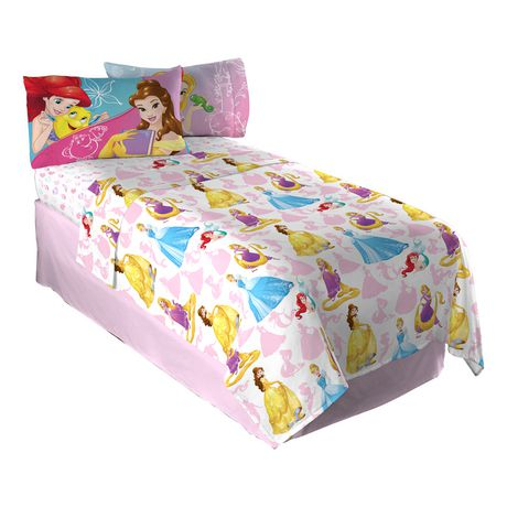 Ensemble de draps pour lit double dazzling princess des princesses disney - Ensemble draps lit double ...