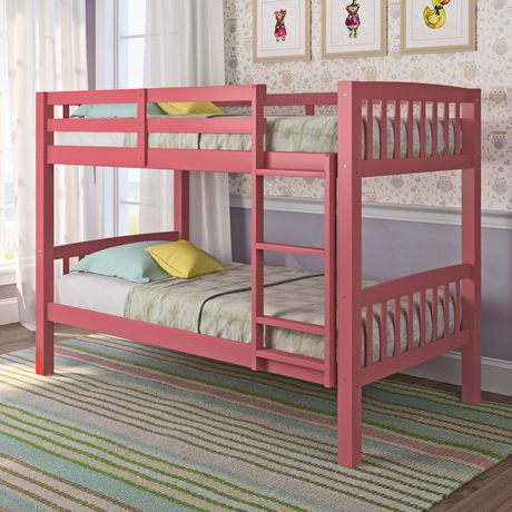 Corliving Dakota Pink Painted Wood Bunk Bed Walmart Canada