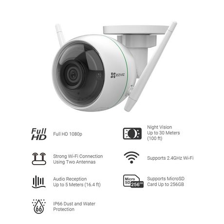 EZVIZ C3WN 1080p Outdoor Wi-Fi Bullet Camera with Google Assistant Compatibility - image 9 of 9