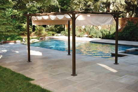 Hometrends Retractable Shade Pergola Beige Walmart Canada