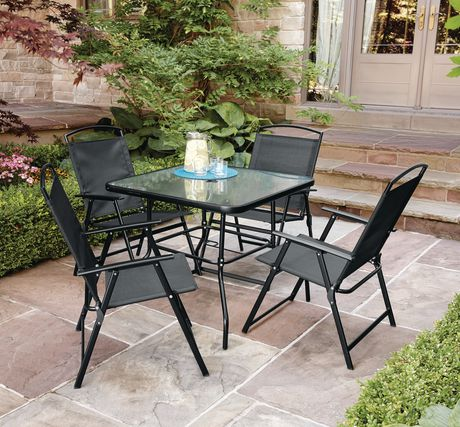 mainstays cranston 5 piece folding dining set walmart canada rh walmart ca walmart patio table with umbrella hole walmart patio table cover