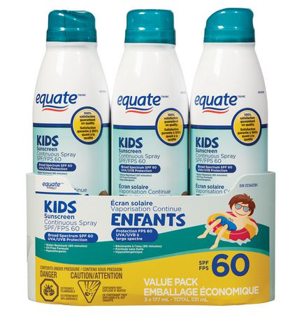 Equate Continuous Spray Sunscreen Spf 60, 3 Pack - image 1 of 1