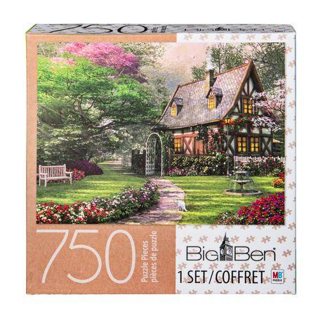 f3e905f680ea Cardinal Games Big Ben - 750-Piece Adult Jigsaw Puzzle - Misty Lane Cottage  ...