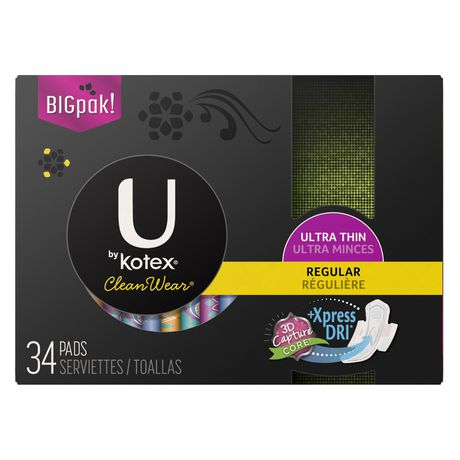 U By Kotex Cleanwear Ultra Thin Pads With Wings Regular Unscented