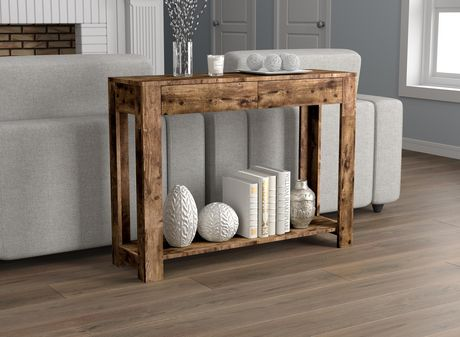 Safdie & Co. Console Table 40L Brown Reclaimed Wood 2 Drawers 1 Shelf - image 1 of 4
