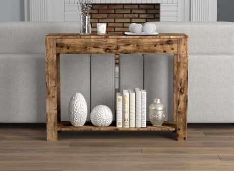 Safdie & Co. Console Table 40L Brown Reclaimed Wood 2 Drawers 1 Shelf - image 2 of 4