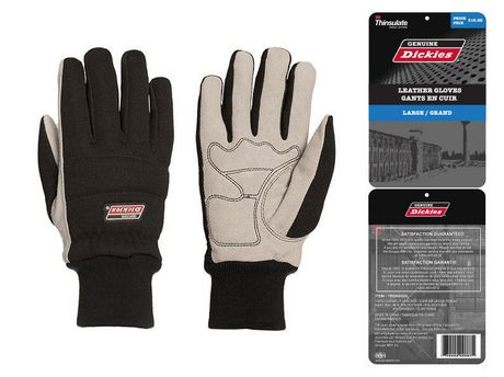 Dickies Cowsplit Gloves J100 Thin, Spndx Back, Padded Palm, K/W, L - image 1 of 1