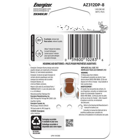 Energizer EZ Turn & Lock Format 312, Emballage de 8, Brun - image 2 de 9